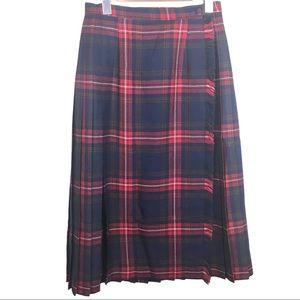 Vintage Red Navy Plaid 100% Wool Pleated Skirt